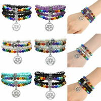 Chakra Buddhist Prayer Amethyst Lava Lotus/Tree of Life Mala Bracelet Necklace