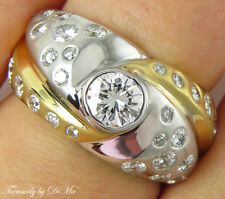 Wedding Band Ring Right Hand 2T 1.60Ct Round Vintage Estate Diamond Engagement