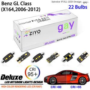 22 Bulbs LED Interior Light Kit Cool White For 2007-2012 X164 Benz GL-Class