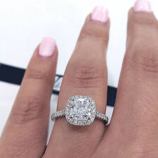 NEW 1.35 Ct Cushion Cut Diamond Halo Engagement Anniversary Ring Set E VVS2 GIA