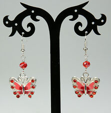 Red/coral pink butterfly earrings rhinestones, red crystals, silver-plated hooks