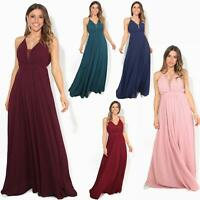 Womens Backless Maxi Halterneck Dress Wedding Evening Cocktail Ball Gown Party