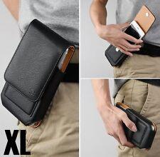 for XL Phones - BLACK VERTICAL Leather Pouch Holder Belt Clip Card Holder Case