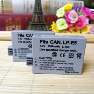 For Canon LP-E5 LPE5 Lithum Ion Rechargeable Battery 2-Pack 7.4V 1080mAh