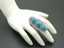 $12 Nordstrom Faux Turquoise Blue Howlite Silvertone Cocktail Ring Size 7/8