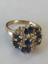 Cluster Genuine Blue Amethist / Diamonds 14k Ring Size 7 3/4