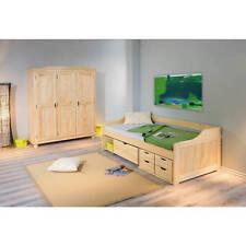 Lit banquette enfant 90 x200 combiné design tiroirs et rangement massif PIN