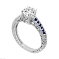 0.70 Carat Diamond & Sapphire Engagement Ring, 14K White Gold GIA Certified