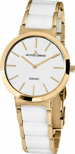 Jacques Lemans Women's 1-1999D Classic White Dial Steel and Ceramic Watch