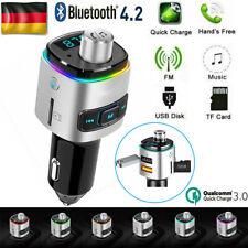 DE Bluetooth 4.2 KFZ FM Transmitter Auto Radio MP3 Player 2 USB SD AUX Ladegerät