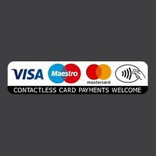 Contactless Credit Card VISA Mastercard Maestro Payments Stickers Taxi Shop