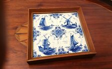 Delft Tile Trivet Vintage Dutch Windmill Blue and White