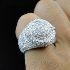 Zircon Bling Rings Luxury Wedding Men's Fashion Jewelry Large Micro-Pave Cubic