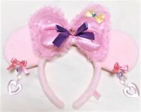 Tokyo Disney Resort Headband Minnie Mouse Pink Ears Bow Earrings Plush F/S