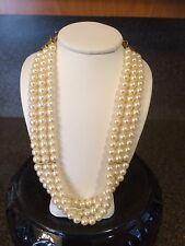Vintage Signed 1928 Multi Strand Row Faux Pearl Necklace
