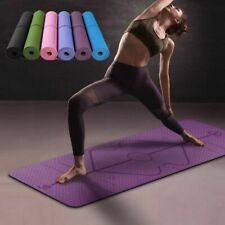 61x 183x 6cm Yoga Mat with Position Line Thick Gym Exercise Fitness Pilates Work