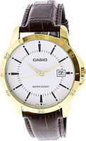 Casio Men's Analog Quartz Stainless Steel/Brown Leather Watch MTPV004GL-7A