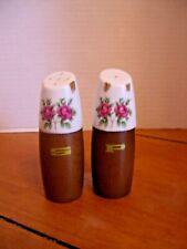 Vintage Salt &Pepper Shakers by Nevco ~ Ceramic Top w/Wood Bottom ~ Rose Motif