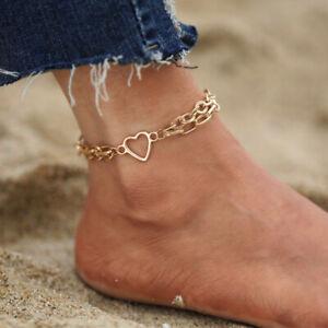 Fashion Gold Heart Shape Stainless Steel Anklet Ankle Chain Bracelet Women Foot
