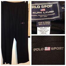 Vtg Polo Sport Ralph Lauren Spellout Flag Black Mesh Windbreaker Track Pants Xl