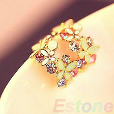 Women Lady Butterfly Flowers Charm Crystal Rhinestone Ear Earring Stud