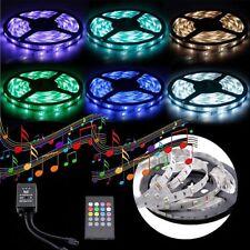 5050 RGB 5M SMD 12V MUSIC SOUND SENSOR LED Strip Light Waterproof IR Controller