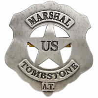 TOMBSTONE US  MARSHAL BADGE - COWBOY SHERIFF/RANGER WILD WEST **NEW**