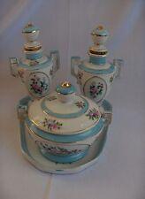 Vintage 7 Pc Vanity Set Blue & White Perfume Bottles Powder Tray  NICE