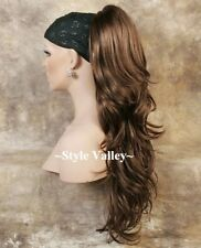 Golden Brown Ponytail Extension Hair Piece Long Wavy Claw clip in Hairpiece