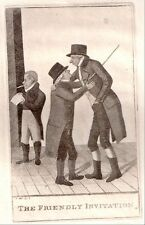 """original 1802 etching of 3 GENTLEMEN titled """"THE FRIENDLY INVITATION"""" by J. Kay"""