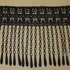 2yds Beautiful Flower Black Venise Lace Fringe Sewing Costume Trims DIY Craft