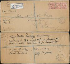 RAILWAY 1923 EMBOSSED FLAP GWR REGISTERED..PERFINS 4 1/2d PADDINGTON to HASTINGS