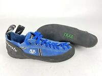 Evolv Eco-Trax Rubber Blue Lace Up Rock Climbing Shoes Size 6 Gym Sport