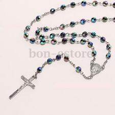 Multicolored Virgin Christian Cross Resin Catholic Beads Silver Rosary Necklace