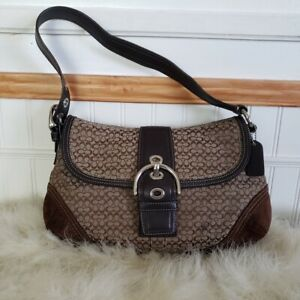 Vtg Coach Brown Canvas & Leather Hampton Buckle Hobo Handbag 10.5H x 8D Genuine