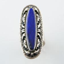 Beautiful Signed Adjustable Silver Lapis Lazuli Ring