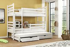 Etagenbett TRIS 200x90 cm für 3 Personen weiß inkl. Matratzen teilbar Massivholz