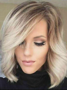100% Human Hair New Fashion Gorgeous Women's Short Blonde Wavy Natural Full Wigs