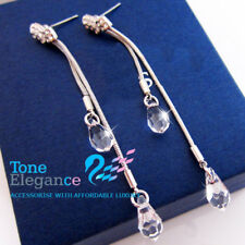 9ct 9k white gold filled solid dangle teardrop earrings made with swarovski