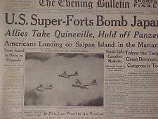 VINTAGE NEWSPAPER HEADLINE~WORLD WAR 2  B-29 PLANES BOMB ATTACK TOKYO JAPAN WWII