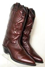 USA Metallic Burgundy Croc Print Border J Toe Western Fashion Boot Women's US 6M