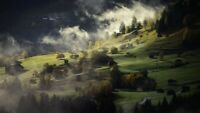 LANDSCAPE AUTUMN FOG  CANVAS PICTURE  WALL ART 20X30 INCHES