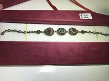 Authentic Handmade 925 Sterling Silver Ruby Emerald And Zirconia Bracelet