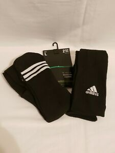 NEW Adidas Soccer Socks (2-Pair) Color Black with White Stripes Size 9-13