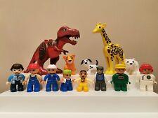 Lego Duplo 13 Figures & Animals - T-Rex, Giraffe, Tiger, Polar Bear, Racer, Zoo
