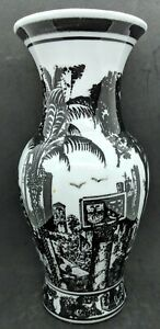 Beautiful Vase-Black and White City-Tropical Central American Scenic Motif-11.5""