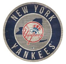 "New York Yankees Circle w/ State Football Wood Sign - 12"" Round Decoration Gift"