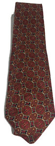 Authentic BRIONI Red Geometric Pattern 100% Silk Tie Necktie Made in Italy