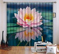 3D Pink lotus 0 Blockout Photo Curtain Printing Curtains Drapes Fabric Window AU
