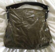 TANO Glazed Crackled OLIVE Leather Hobo Handbag Purse Bag-NICE